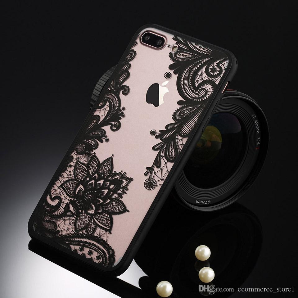 섹시한 레트로 꽃 전화 케이스 애플 아이폰 7 6 6s 5 5s SE 플러스 레이스 꽃 하드 PC + TPU 케이스 뒤 표지 Capa iPhone7Plus 들어
