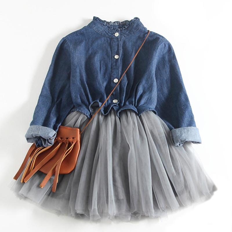 24d1b7e1f Vestido de malla para niña 2018 Nuevos vestidos de primavera Ropa para  niños Vestido de princesa PinkWool Bow Design 2-8 años Ropa para niña ...