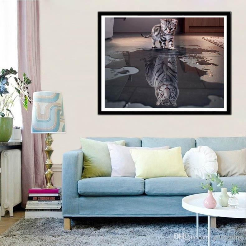 ساحة مليئة 5D DIY الماس الرسم القط النمر الحيوان كريستال التطريز عبر الابره التطريز فسيفساء لوحة ديكور هدية VIP