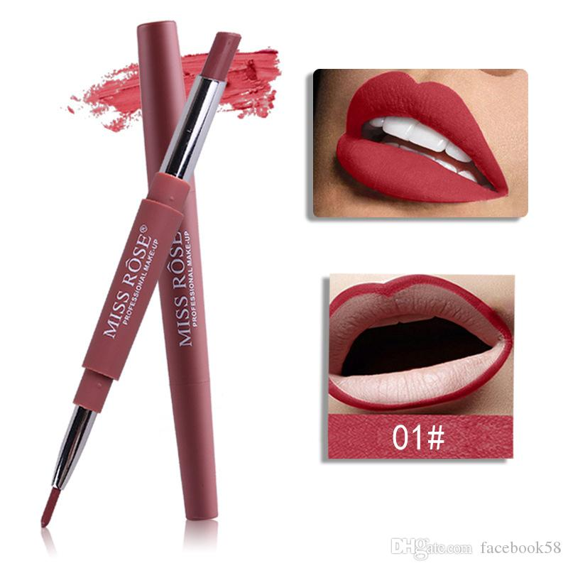2018 Brand MISS ROSE Lip Pencils Matte Makeup for Women Long Lasting Pigment Red Nude Lip Liner Double Ended with Matte Lipstick