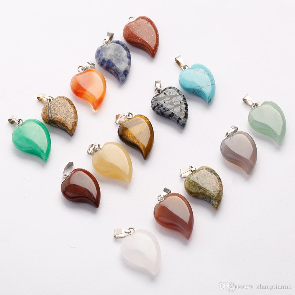 Hot Lovely Crooked Love Heart Shaped stone Pendants Mixed Crystal Quartz Healing Charms Pendant for Jewelry making Necklace Earrings free