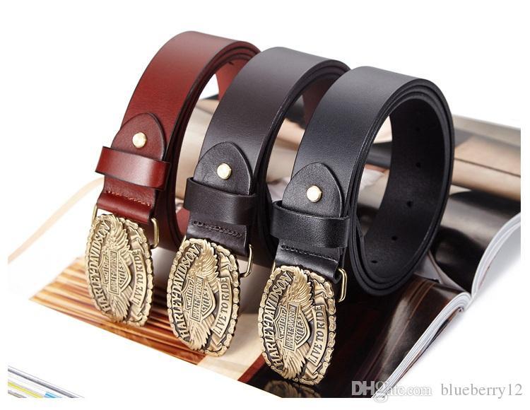 Compre Cinturones De Cuero Para Hombre De La Moda Patrones De Letras  Vintage Hebillas De Cobre es Cinturones De Piel De Vaca Cinturones De 105  115 Cm A ... ecacfc0a5801