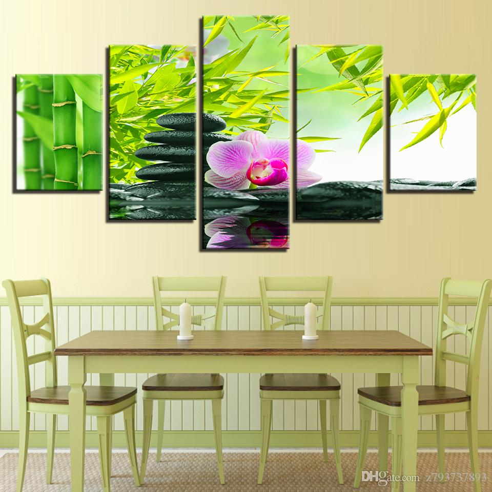 Modular HD Poster Painting Wall Art Modern Canvas 5 Panel Bamboo Flower Living Room Home Decoration Pictures Marco Impreso