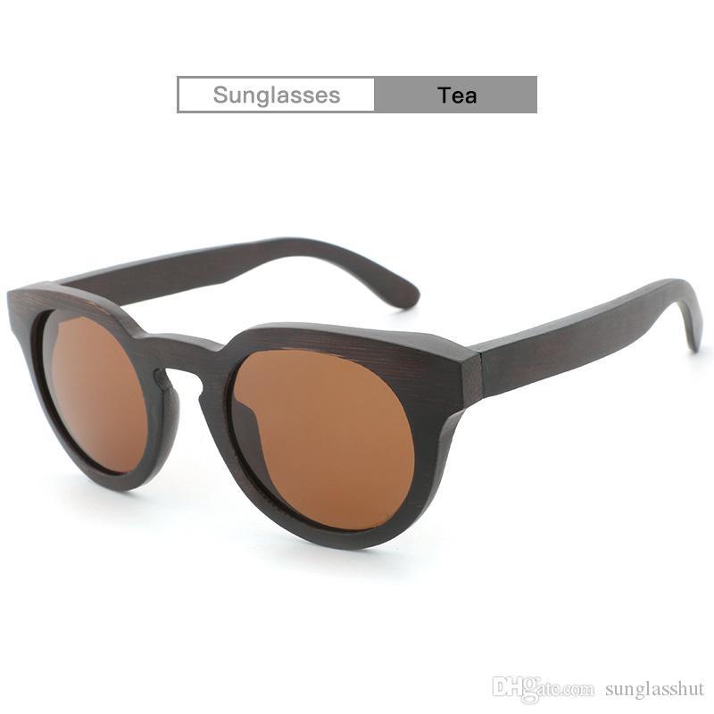 c1c2dc3b02 Compre Gafas De Sol De Madera De Alta Calidad Hechas A Mano De Moda Con  Lentes De Costa Polarizadas De Bambú Marco Redondo Unisex Con Aprobación Del  CE FDA ...