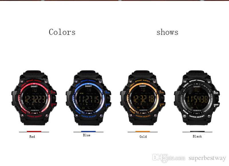 EX16 Sports Smart Watch Bluetooth IP67 waterproof Remote Camera Fitness Tracker Wearable Technology wristwatch for IOS Android OTH916