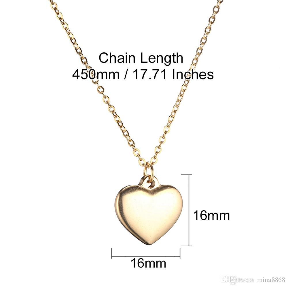 gold/silver plated Jewelry heart Pendant necklace Fashion stainless steel Heart Necklace Pendants for women Top Quality