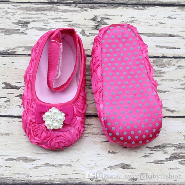 뜨거운 판매 진주 모조 다이아몬드 진주 아기 발 DIY 아기 신발 사진 꽃 활 아기 발 장식품 아기 세례 신발 임의 색상 KC98