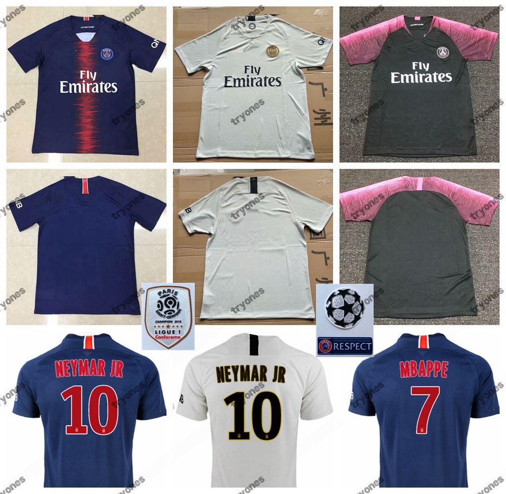 820525cbb052 18 19 FC Paris Saint Germain PSG Soccer Jersey 7 MBAPPE 9 CAVANI 6 ...