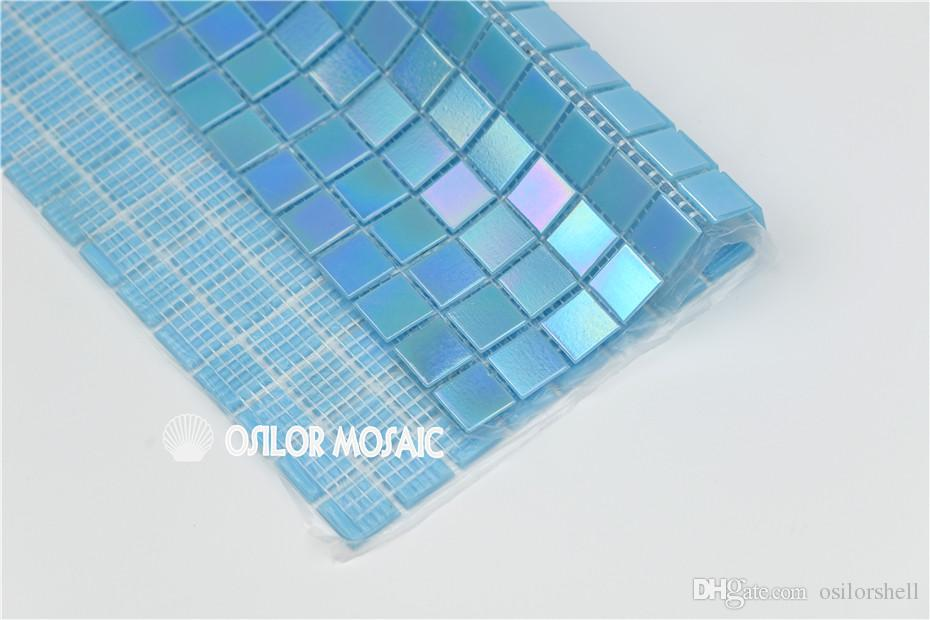 Blue glass mosaic tile for bathroom and kitchen and swimming pool wall tile 20x20mm 4 square meters P35