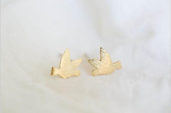 2018 Moda pendientes de oro forma de los pendientes de pájaro para wome envío libre al por mayor