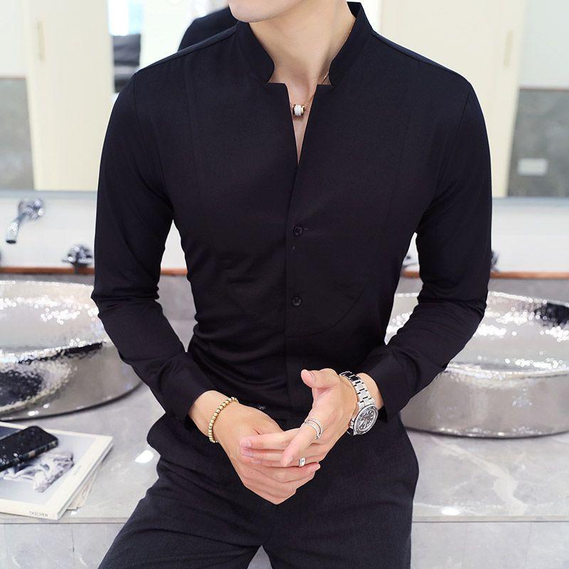 e7a5bf9114 Compre Otoño Invierno Stand Collar Para Hombre Camisas De Vestir De Manga  Larga Negro Rojo Blanco Delgado Elegante Joven Hombre Boda De Negocios  Camisa ...
