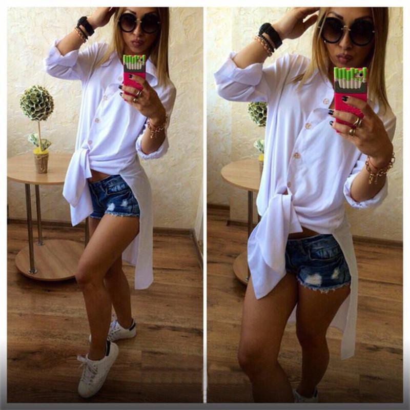 dafb25caa Blusa casual de moda de las mujeres 2019 Blusas largas del verano Camisas  Botón ocasional Camisa con cuello desmontable camisa lateral de lado ...