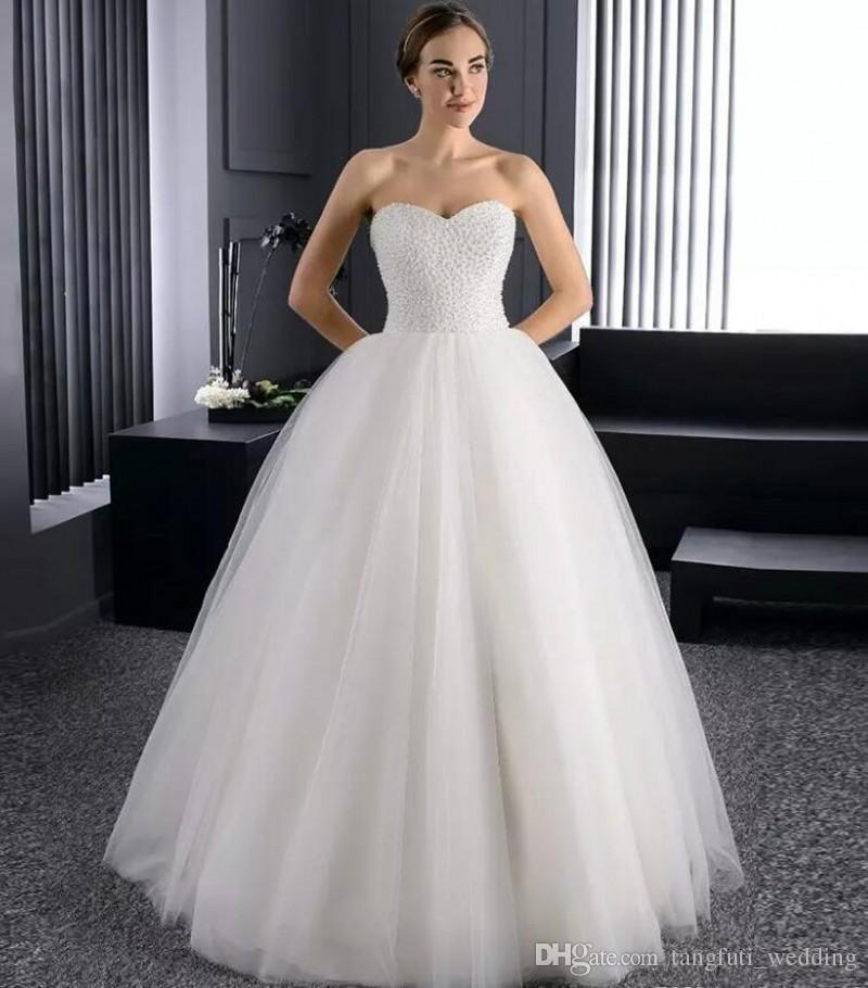 6732e6a4d91 Ball Gown Wedding Dresses Long Sweetheart Tulle Pearls Beading Bling  Wedding Dress Floor Length Bridal Dress Vestido De Noiva Vintage Wedding  Dresses ...