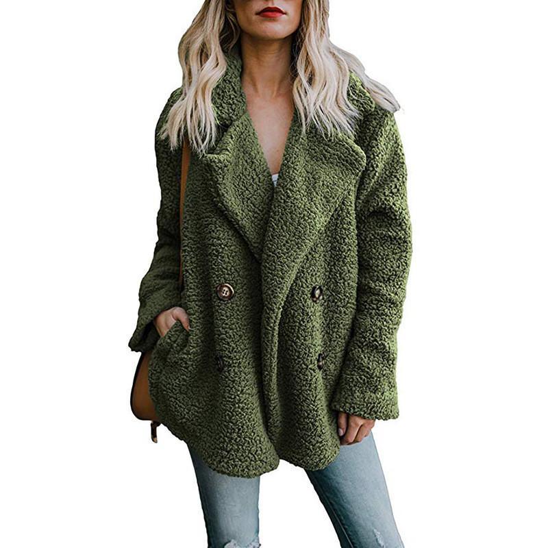 Frauen 2018 Winter Pelzmäntel Taschen Warme Fleece Großhandel Faux FgtnI
