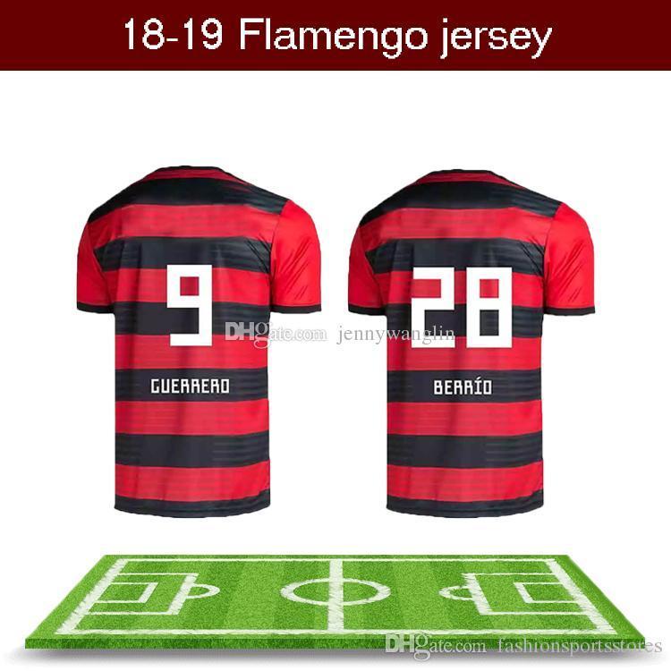 Compre 18 19 Venda Nova Tailândia Aaa + Flamengo Camisas De Futebol  Guerrero Diego Vinicius Jr Zico Elano Hernane Brasil Flamengo Casa Fora  Camisas De ... f08a019002f