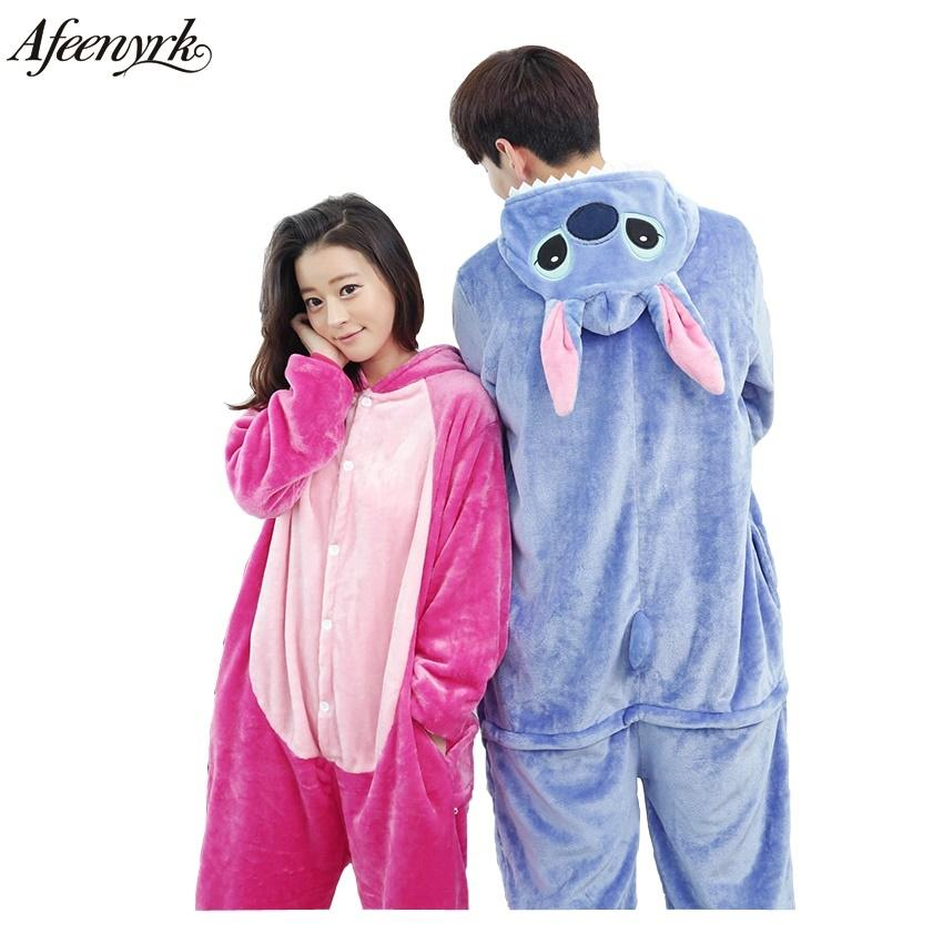 20bd06d83f4972 Afeenyrk Atacado Ponto Adulto conjuntos de pijama animal panda unicórnio  Moda Unisex Flanela para as mulheres homem roupas Sleepwear