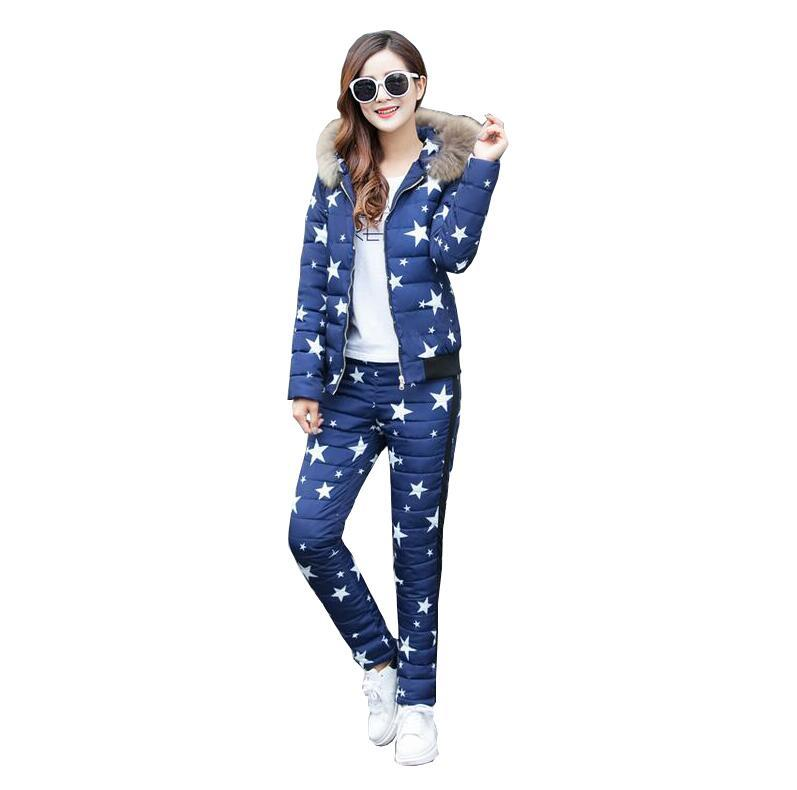 2017 New Winter Women Jacket Star Printed Slim Parka Coat + Pants ... 7f1fac3b8e