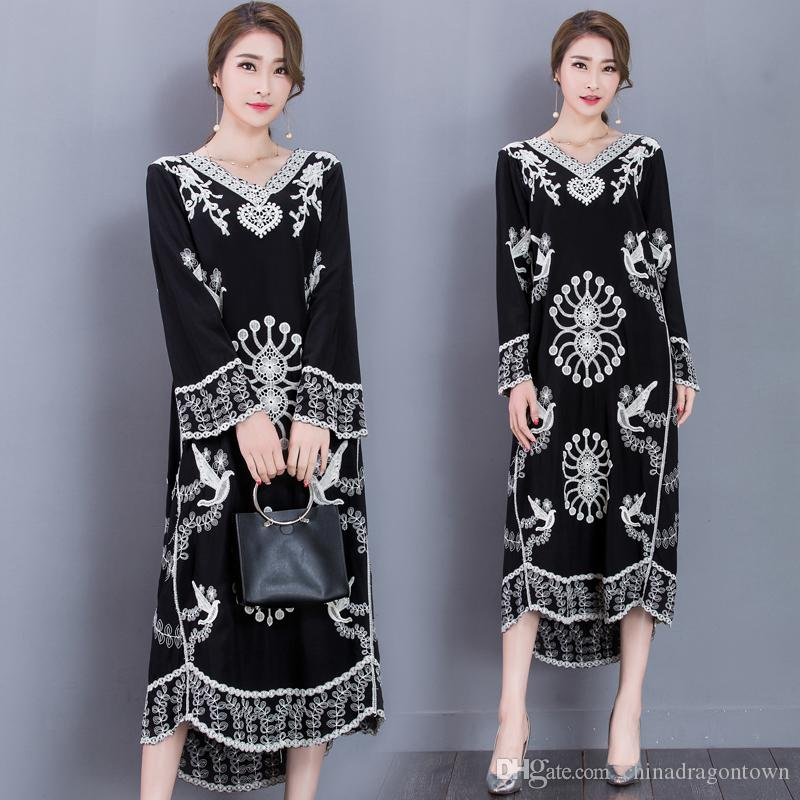 7d527d4d0796 2019 Fashion Embroidered Gown Elegant Vestido Long Sleeve Traditional  Costume Turkish Pakistan India Women Dress Casual Ethnic Clothing From  Chinadragontown ...