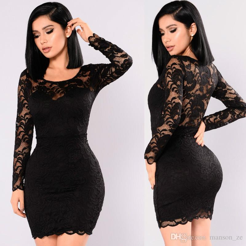 66ade86370259 Womens Lace Sexy Dress Long Sleeve Mini Dress Ladies Formal Cocktail Party  Bodycon Dresses Sexy Hollow Out Lace Dress Club Evening dresses