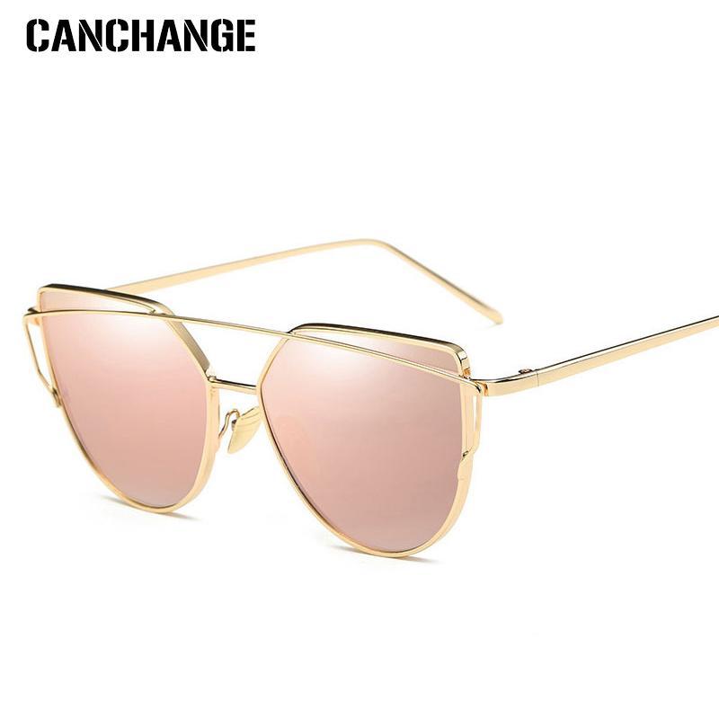 dfdc7464b074 CANCHANGE Cat Eye Sunglasses Women Luxury Brand Designer Twin Beam Rose  Mirror Lens Sun Glasses For Female Lentes De Sol UV400 Cycling Sunglasses  Running ...