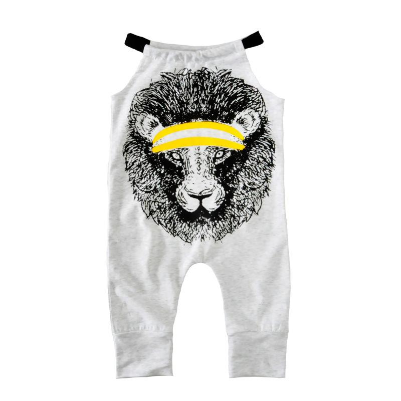 a93414cf0088 Baby Girls Lion Printed Sling Rompers Gray Newborn Toddler Kids Baby ...