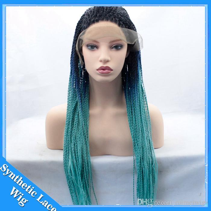 Perruques de tresse havane de torsion de tresse de lacet de pleine tresse 3 tons du noir au bleu vert perruques synthétiques de cheveux résistants à la chaleur de ombre pour la femme