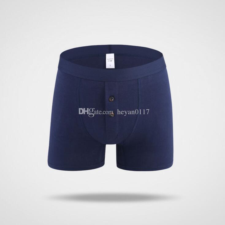 Long Leg Underwear Men s Button Open Front Boxers Shorts Cotton Long ... a66b189ef
