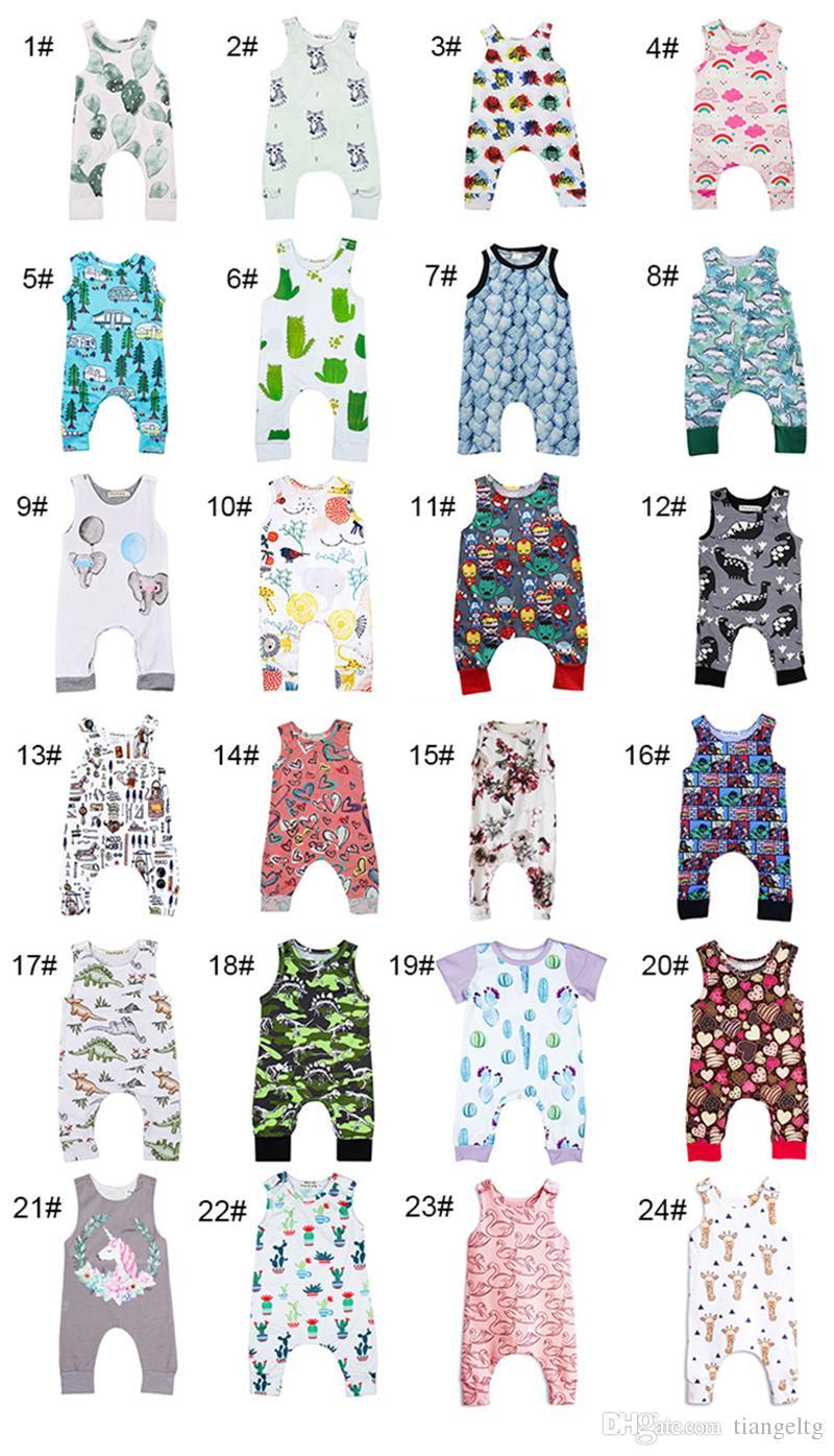 Baby Print Rompers 81 Designs Garçon Filles Alpaga Licorne Dinosaure Ballon À Air Chaud Nouveau-Né Infantile Enfants Été Vêtements Combinaison Combinaison 3-18 M