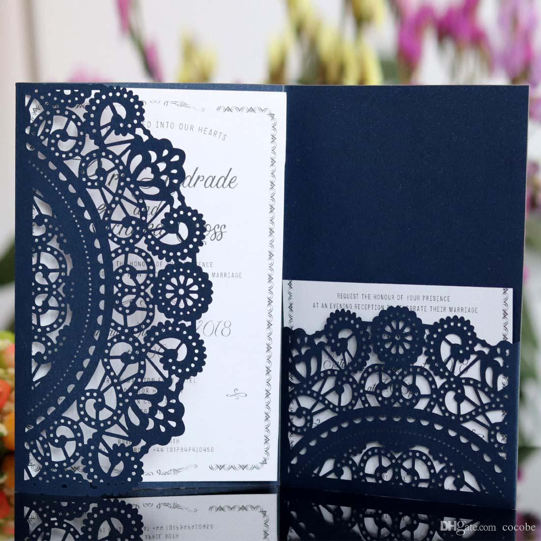 Wedding Invitations With Rsvp Cards White Navy Blue Laser Cut ...