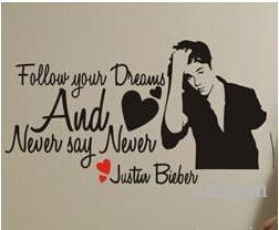 Wholesale new wall sticker home decoration Justin Bieber vinyl wall quotes art decals for children wallpaper murals poster