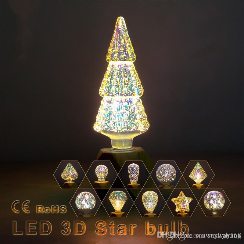 3d Weihnachtsbeleuchtung.Weiß Warmweiß 3d Stern Led Lampe 85 265 V E27 Feuerwerk Effekt Vintage Edison Birne 3d Weihnachtsbeleuchtung Weihnachtsdekoration Licht