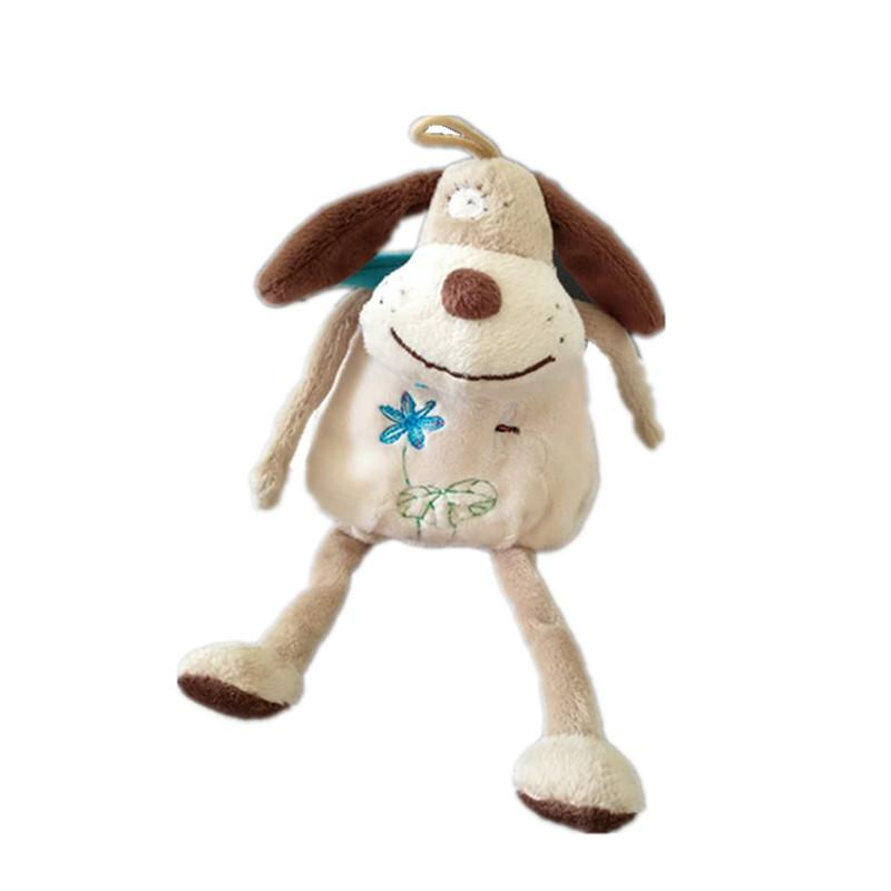 Biwan Stuffed Dog 24cm From Head To Feet Cute Embroidered Hanging Dog Soft Printed Toy With Scarf Children's Birthday Gifts