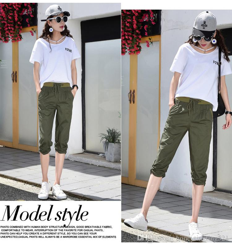 New spring summer fashion women's cotton fabric loose palazzo elastic waist capris cargo pants short trousers plus size SMLXLXXL3XL4XL