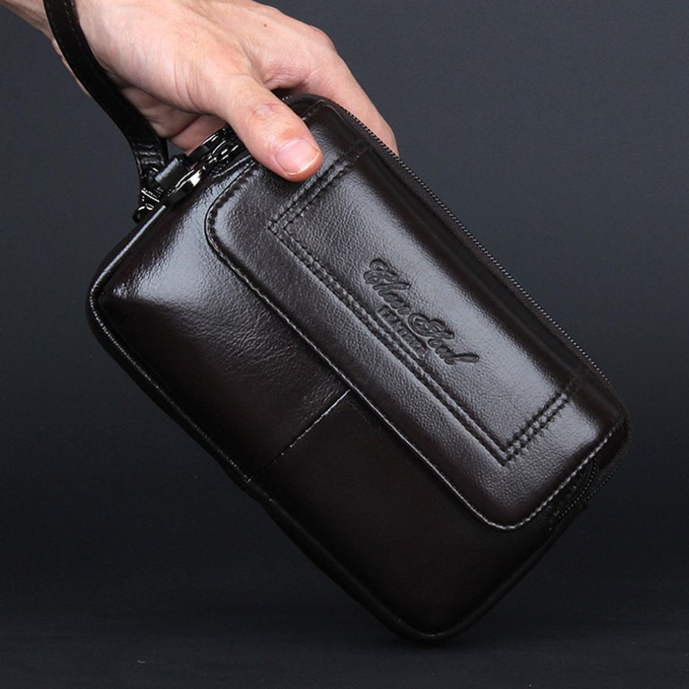 604bf4f441 New Men  S Genuine Leather Cowhide Phone Case Belt Hip Fanny Waist Bag  Clutch Wallet Purse For Father Christmas Gift Shoe Bags Cute Fanny Packs  From ...