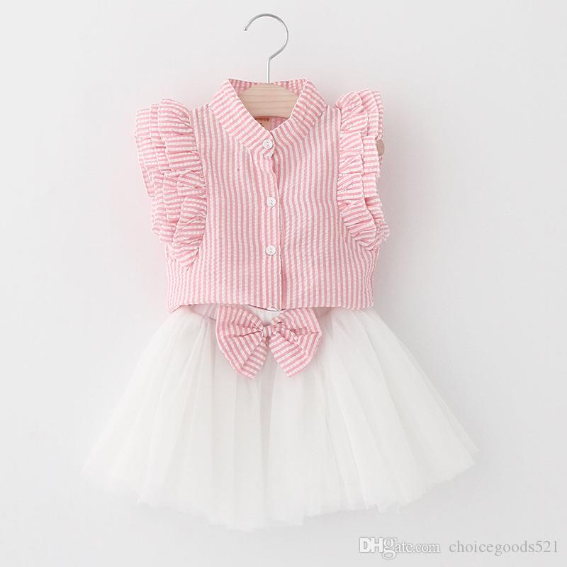 Acquista Estate Bambina Vestiti Bambini Stripe Shirt + Gonna Tutu Bianca  Con Fiocco 2 Pezzi Moda Abbigliamento Bambino Abbigliamento Bambini 5 S   L  A ... 1d97a8e749e