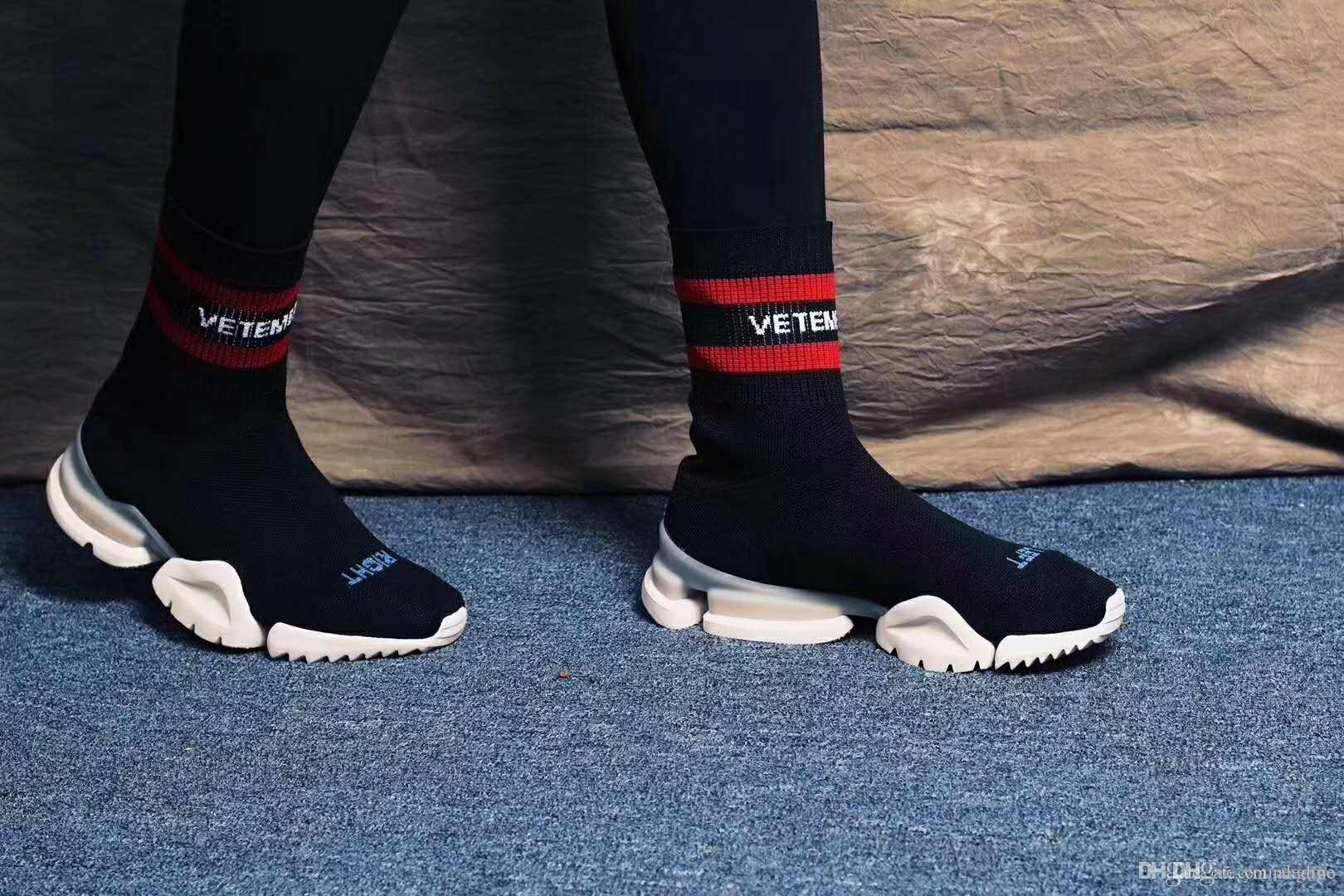 abf95edb5b537 VETEMENTS SS CREW UNISES Sock Trainer Dropping RUNNING Shoes CN3307 Black  Red Socks Shoes Luxury Brand Casual Shoes Brown Boots Winter Boots For  Women From ...