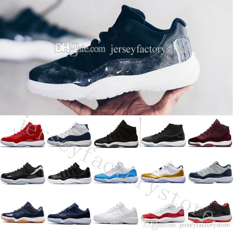 buy popular 46d48 1d66e 2018 High Cheap NEW 11 Space Jam Bred Gamma Blue Basketball Shoes Men Women  11s Concords 72-10 Legend Blue Cool Grey Low Barons US 5.5-13
