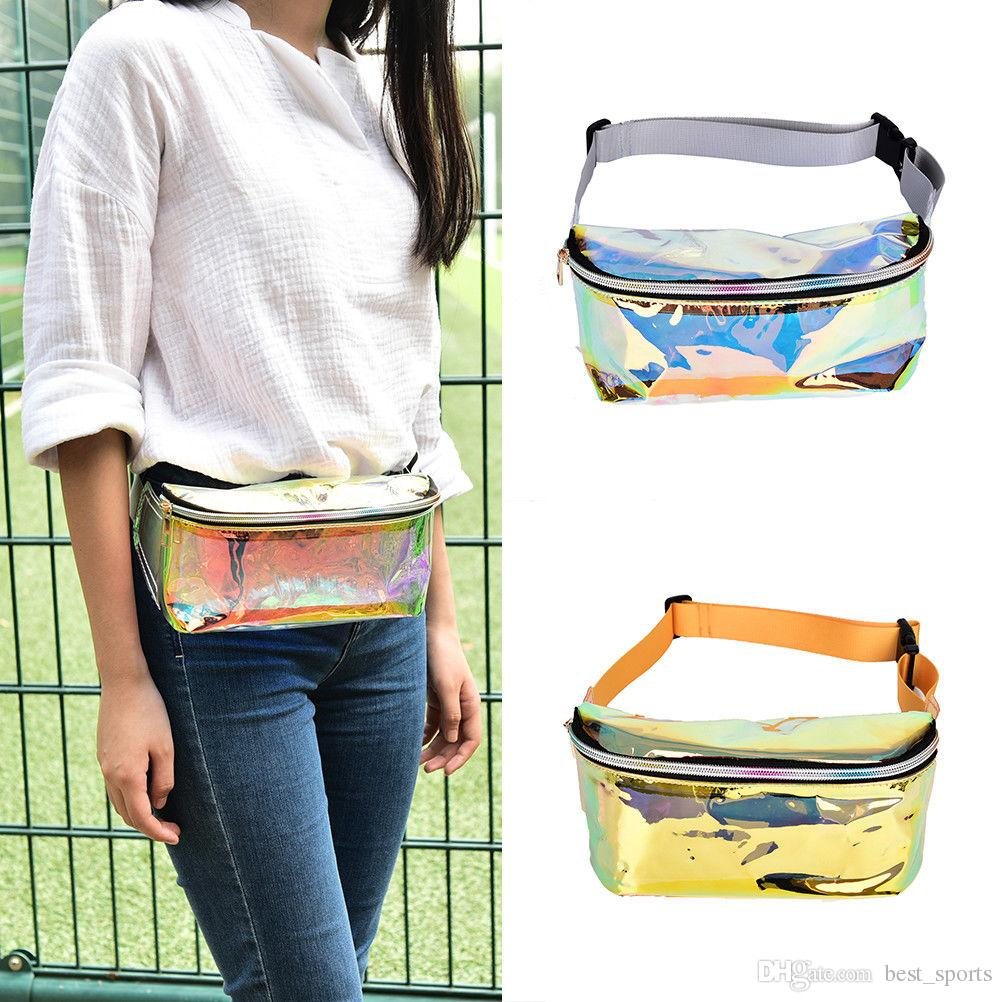 132b1bc70741 Waist Bag Fashion Punk Lady Girl Rainbow Transparent Fanny Pack Women Purse  Waist Bag EP Punk Party Beach bag BBA88