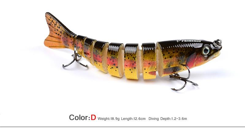 Saltwater Fishing Swimbaits flicker bass bait 12cm 19g 3D Eyes 8 Segments Rattlin Crankbaits Lure