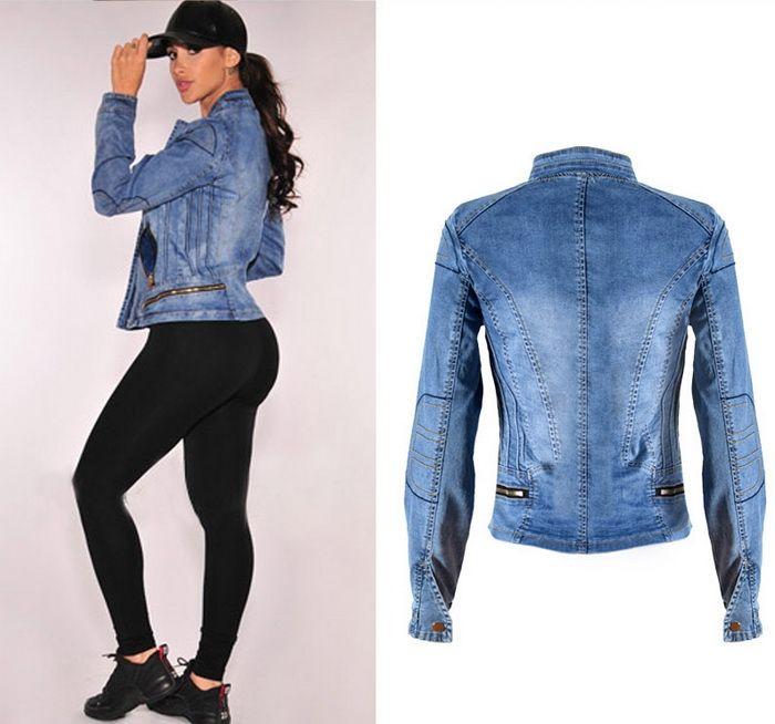 Lady Beyzbol Ceket Streç Denim Biker Motosiklet Giyim Avrupa Ve ABD Fermuar Yamaları Jean Giyim Kadın