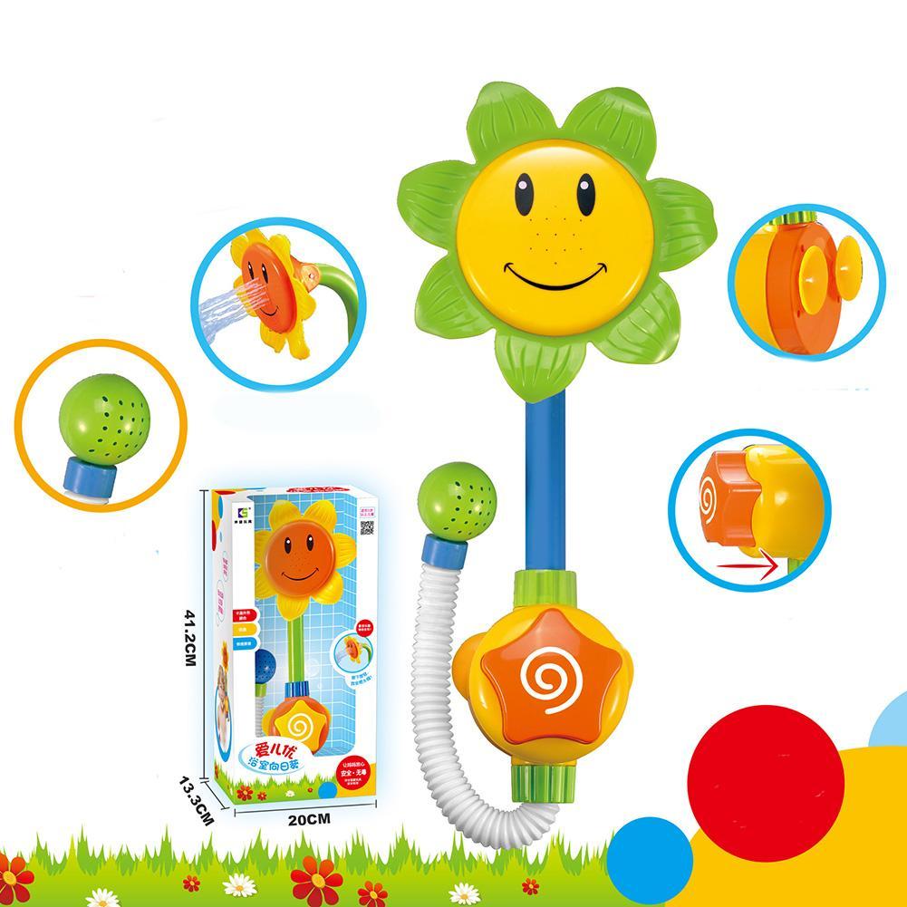 Bebê engraçado jogo de água banho de brinquedo de girassol torneira do chuveiro bico de banho do bebê jogar banho de natação brinquedos de verão banho cor aleatória frete grátis