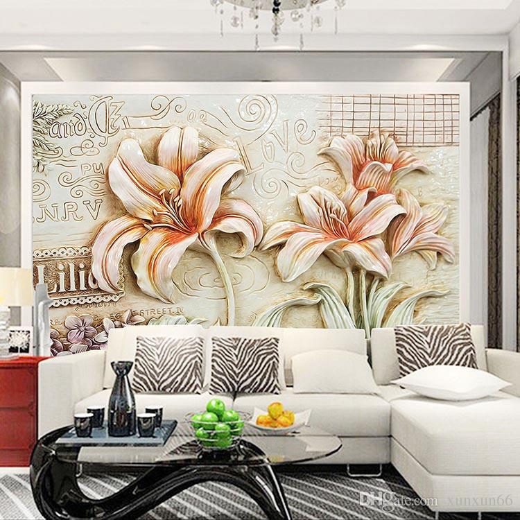 Großhandel Nahtlose 3D Große Wallpaper Tapeten Wohnzimmer Sofa Schlafzimmer  TV Wand Hintergrund Stereo Lily Wand Tuch Von Xunxun66, $18.1 Auf ...