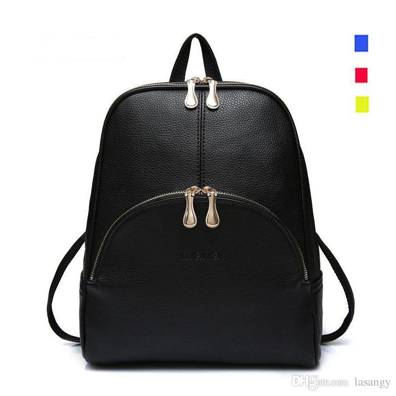 8a80af908d7d 2016 Fashion Backpacks Women PU Leather School Bag Girls Female Candy  Colors Travel Shoulder Bags Waterproof Back Bags Mochila Back Pack Mochilas  Jansport ...
