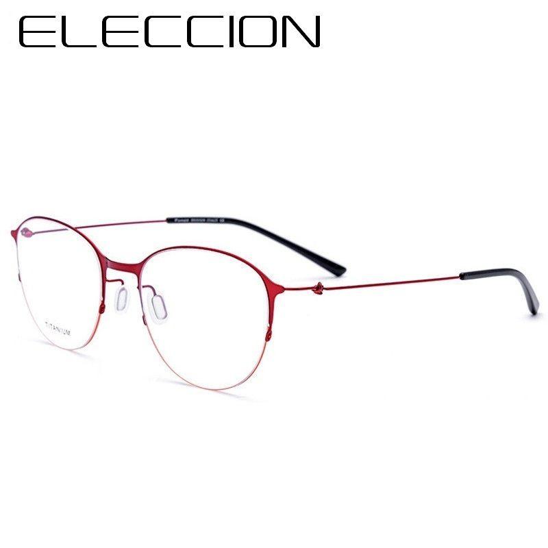 a37dea197 ELECCION التيتانيوم النظارات المستديرة التيتانيوم الإطار البصرية وصفة  النظارات للنساء الأزياء قصر النظر النظارات إطارات الرجال