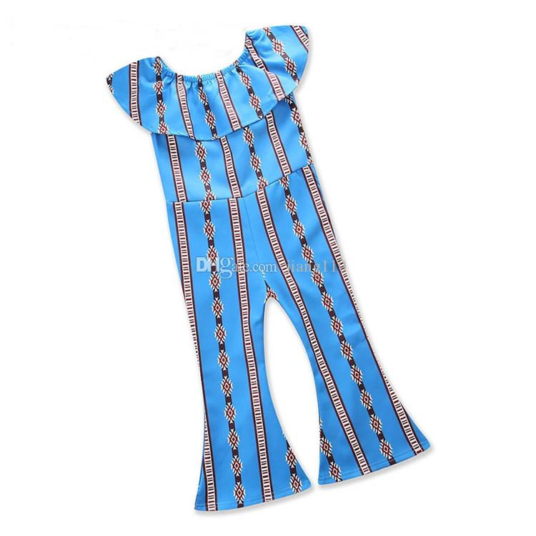 2018 new hot sell INS baby girls one-piece rompers geometric girl's jumpsuit children one shoulder rompers summer bell-bottoms trousers
