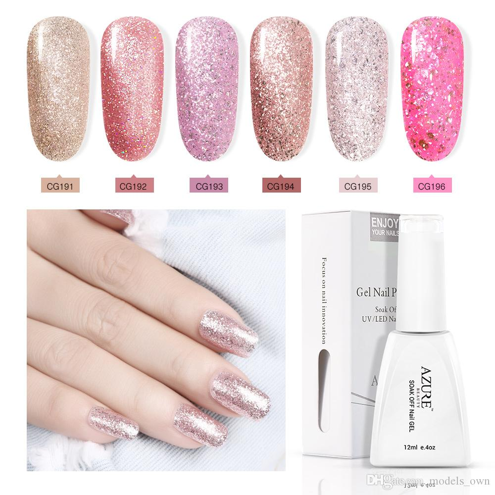 Acquista Azure 12ml Gel Unghie In Oro Rosa Primer Gel Glitter