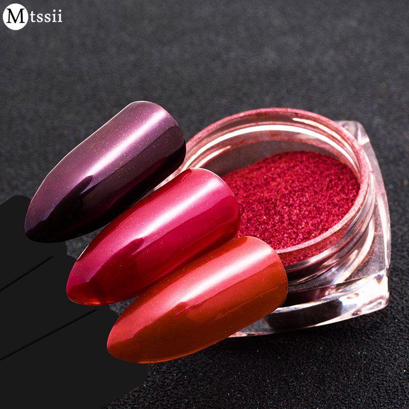 Mtssii Mirror Red Nail Glitter Powder Nail Art Dust Chrome Pigment