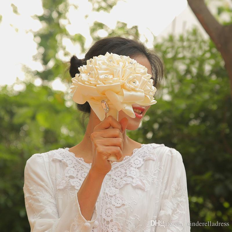 New Free Shipping Cheap PE Rose Bridesmaid Wedding Foam flowers Rose Bridal bouquet Ribbon Fake Wedding bouquet de noiva Customized CPA1589