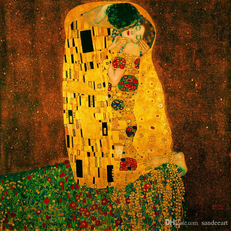 2018 Gustav Klimt Kiss Oil Painting Reproduction Art Wall Hd Print ...
