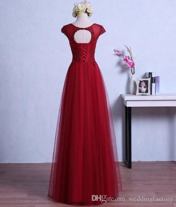 Long Burgundy Prom Dresses Sheer Neck Capped Sleeves Dark Red Pearls Lace Appliques Floor Length Open Back Tulle Evening Gown Corset